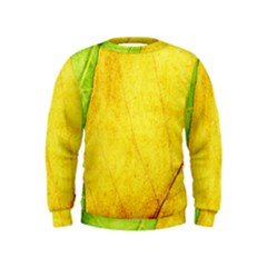 Green Yellow Leaf Texture Leaves Kids  Sweatshirt