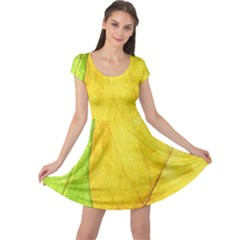 Green Yellow Leaf Texture Leaves Cap Sleeve Dress
