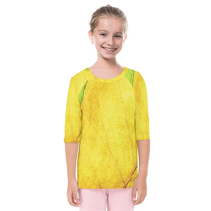 Green Yellow Leaf Texture Leaves Kids  Quarter Sleeve Raglan Tee
