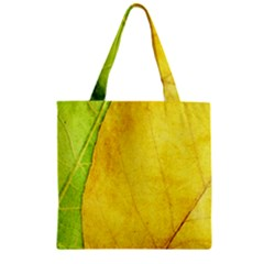 Green Yellow Leaf Texture Leaves Zipper Grocery Tote Bag