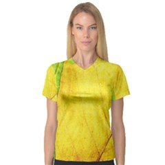 Green Yellow Leaf Texture Leaves V Neck Sport Mesh Tee