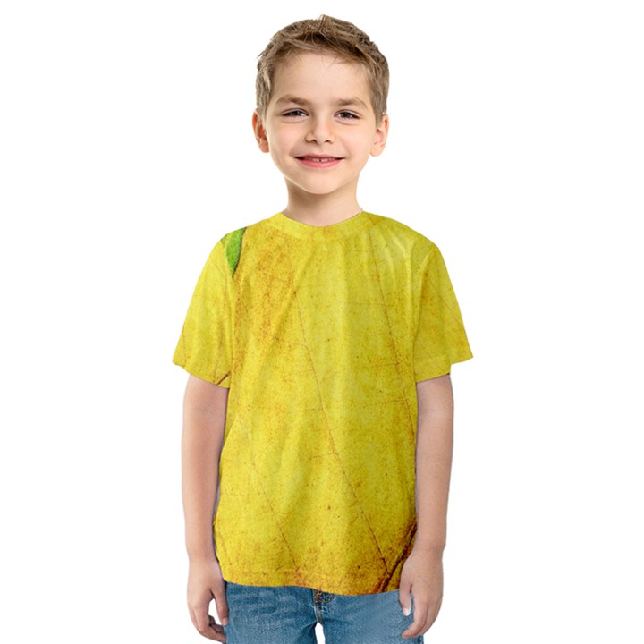 Green Yellow Leaf Texture Leaves Kids  Sport Mesh Tee