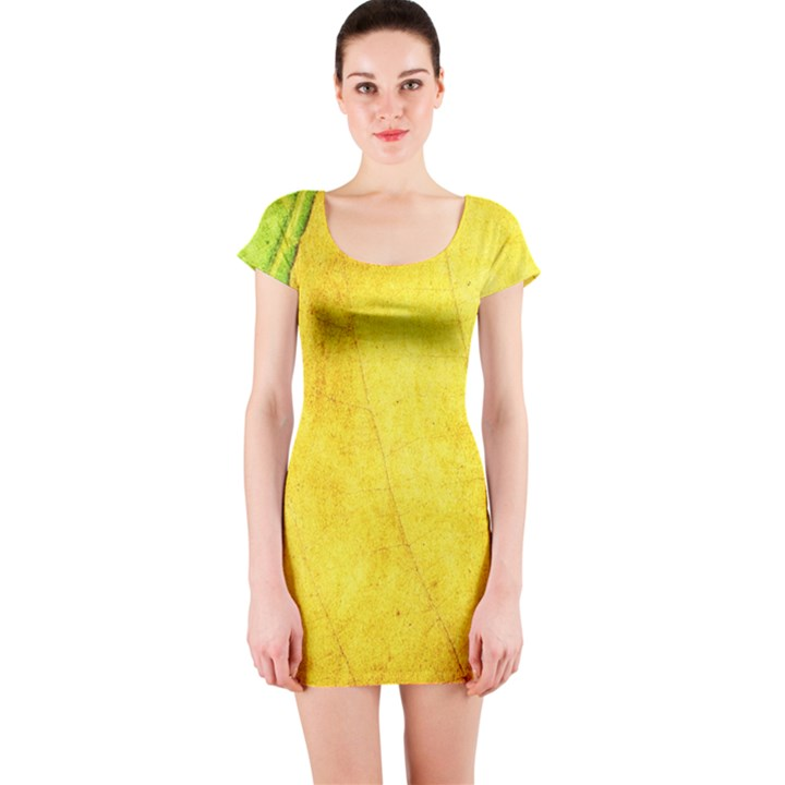 Green Yellow Leaf Texture Leaves Short Sleeve Bodycon Dress