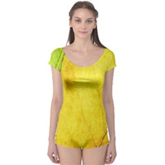 Green Yellow Leaf Texture Leaves Boyleg Leotard