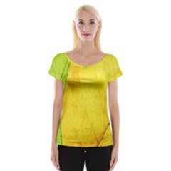 Green Yellow Leaf Texture Leaves Cap Sleeve Top