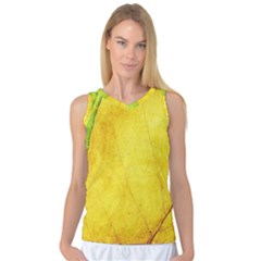 Green Yellow Leaf Texture Leaves Women s Basketball Tank Top