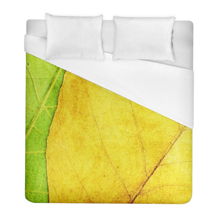 Green Yellow Leaf Texture Leaves Duvet Cover (Full/ Double Size)