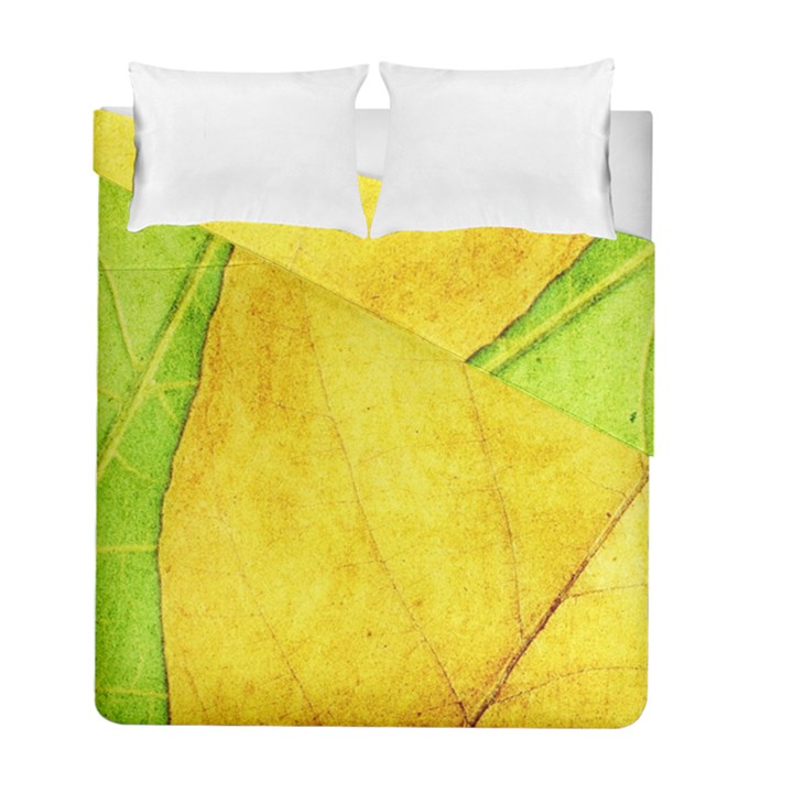 Green Yellow Leaf Texture Leaves Duvet Cover Double Side (Full/ Double Size)