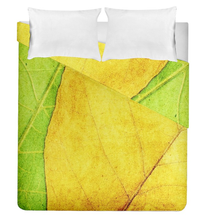 Green Yellow Leaf Texture Leaves Duvet Cover Double Side (Queen Size)