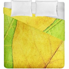 Green Yellow Leaf Texture Leaves Duvet Cover Double Side (king Size)
