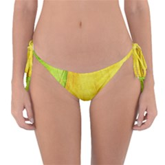 Green Yellow Leaf Texture Leaves Reversible Bikini Bottom