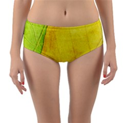 Green Yellow Leaf Texture Leaves Reversible Mid Waist Bikini Bottoms