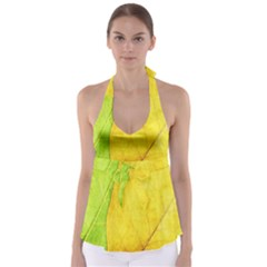 Green Yellow Leaf Texture Leaves Babydoll Tankini Top