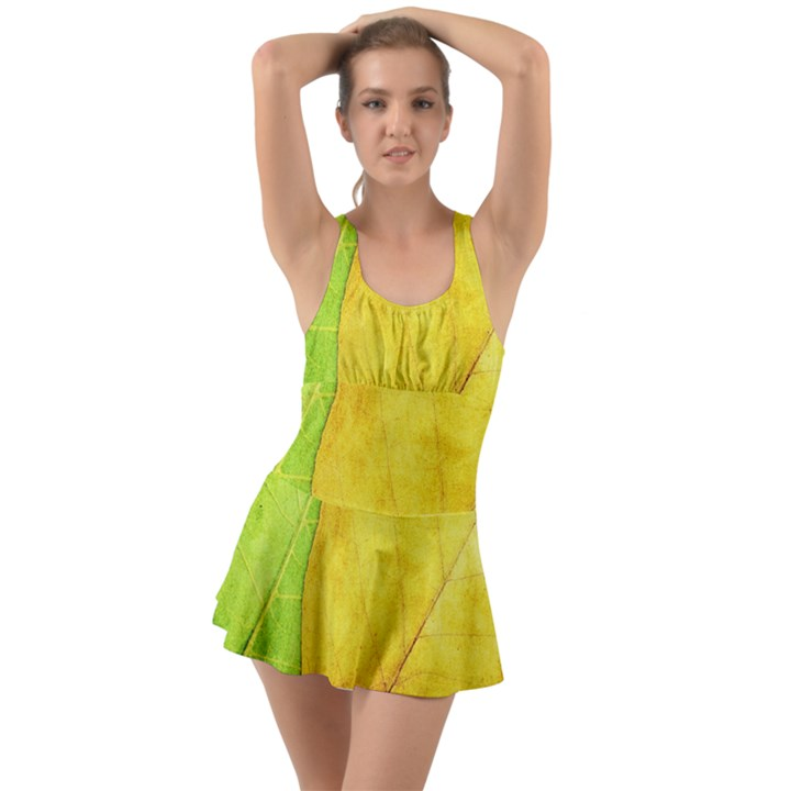 Green Yellow Leaf Texture Leaves Ruffle Top Dress Swimsuit