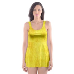 Green Yellow Leaf Texture Leaves Skater Dress Swimsuit