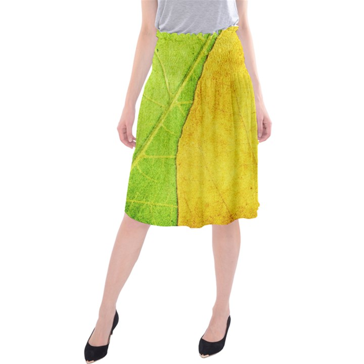 Green Yellow Leaf Texture Leaves Midi Beach Skirt