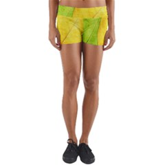 Green Yellow Leaf Texture Leaves Yoga Shorts