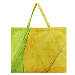 Green Yellow Leaf Texture Leaves Zipper Large Tote Bag