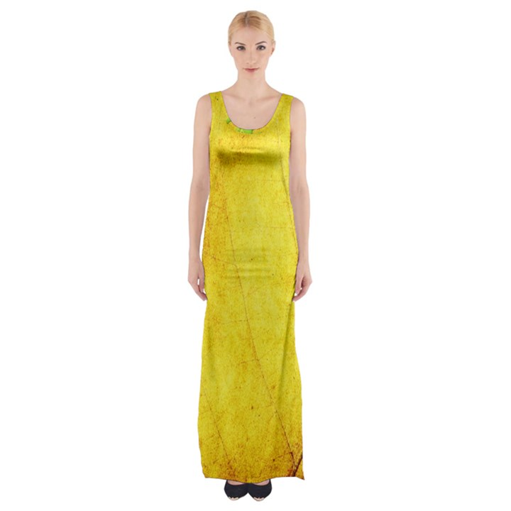 Green Yellow Leaf Texture Leaves Maxi Thigh Split Dress