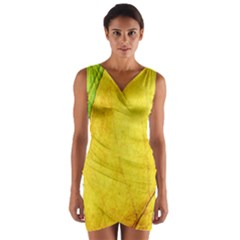 Green Yellow Leaf Texture Leaves Wrap Front Bodycon Dress