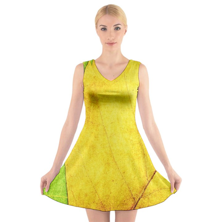 Green Yellow Leaf Texture Leaves V-Neck Sleeveless Dress