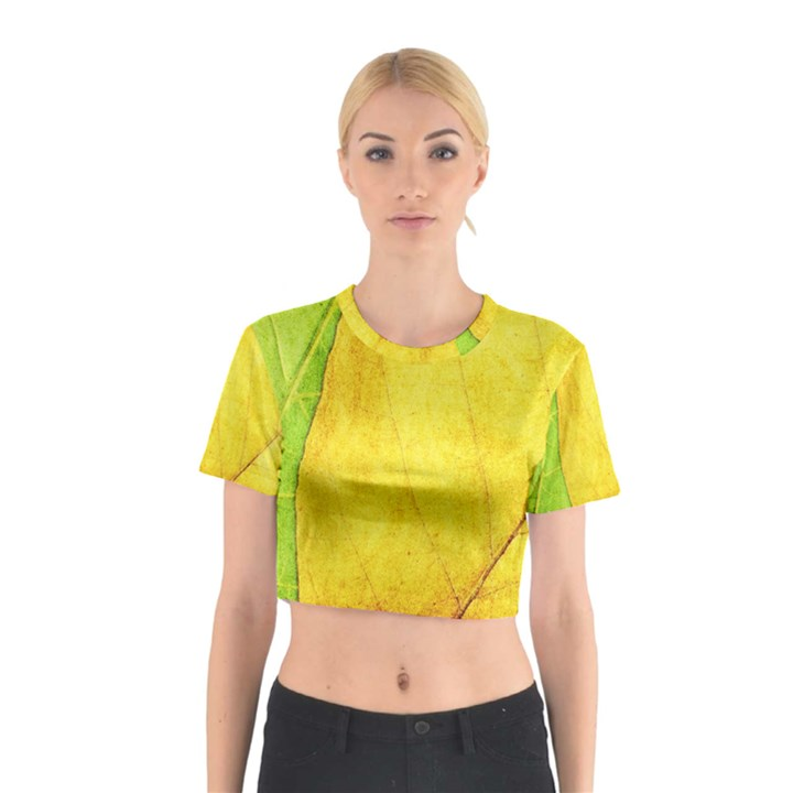 Green Yellow Leaf Texture Leaves Cotton Crop Top