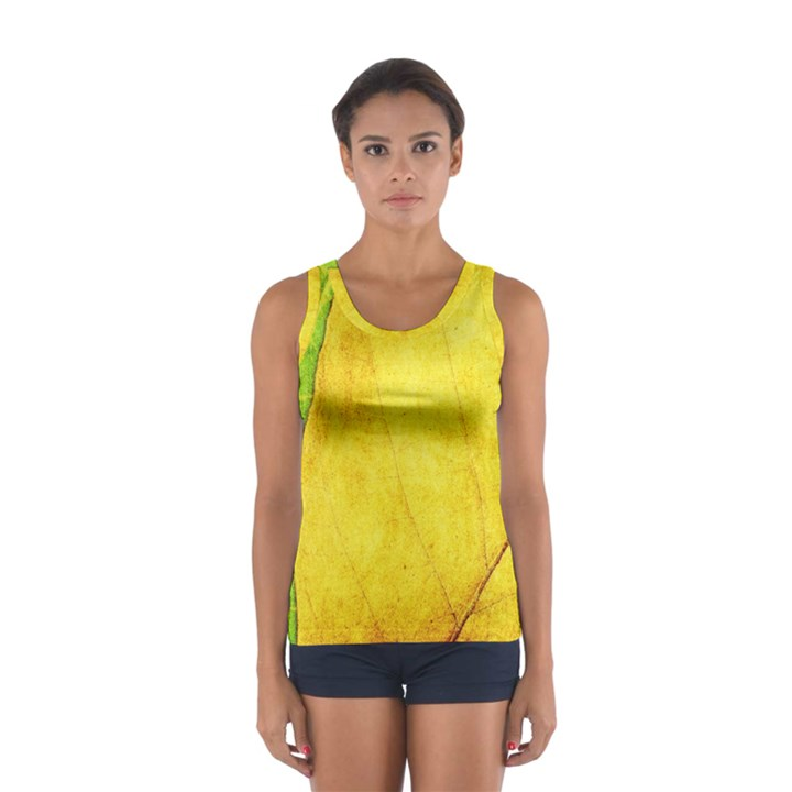 Green Yellow Leaf Texture Leaves Sport Tank Top