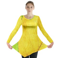 Green Yellow Leaf Texture Leaves Long Sleeve Tunic