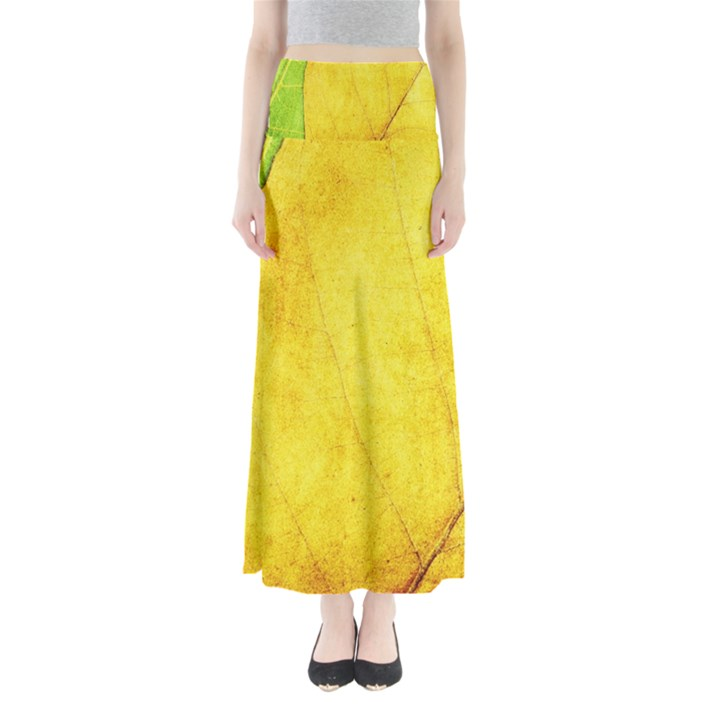 Green Yellow Leaf Texture Leaves Full Length Maxi Skirt