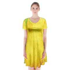 Green Yellow Leaf Texture Leaves Short Sleeve V Neck Flare Dress