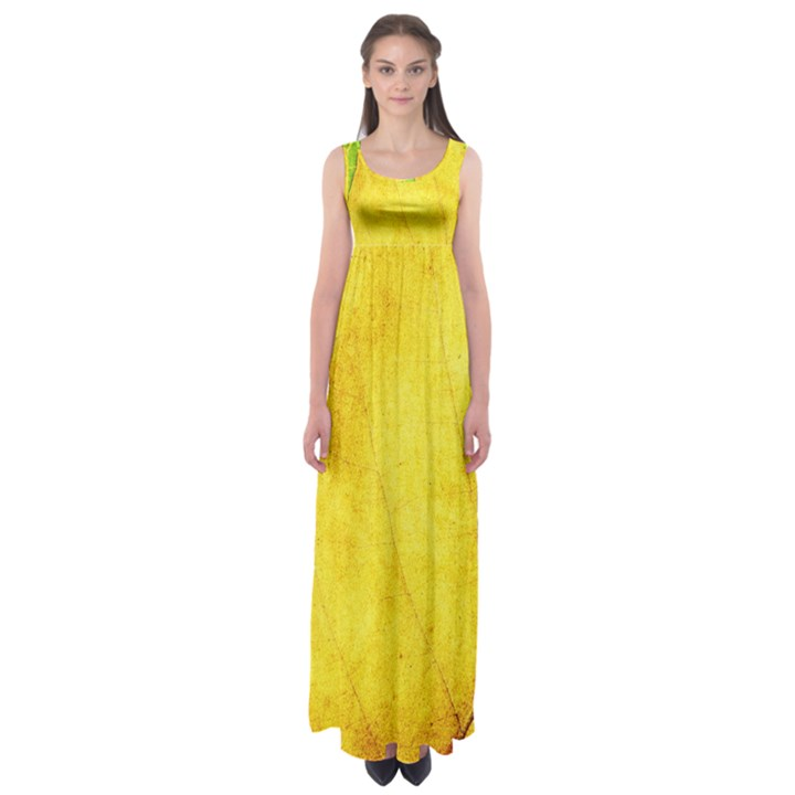 Green Yellow Leaf Texture Leaves Empire Waist Maxi Dress