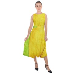 Green Yellow Leaf Texture Leaves Midi Tie Back Chiffon Dress