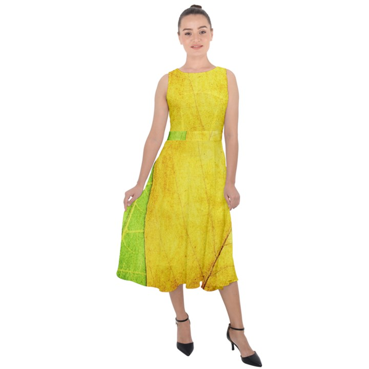 Green Yellow Leaf Texture Leaves Midi Tie-Back Chiffon Dress