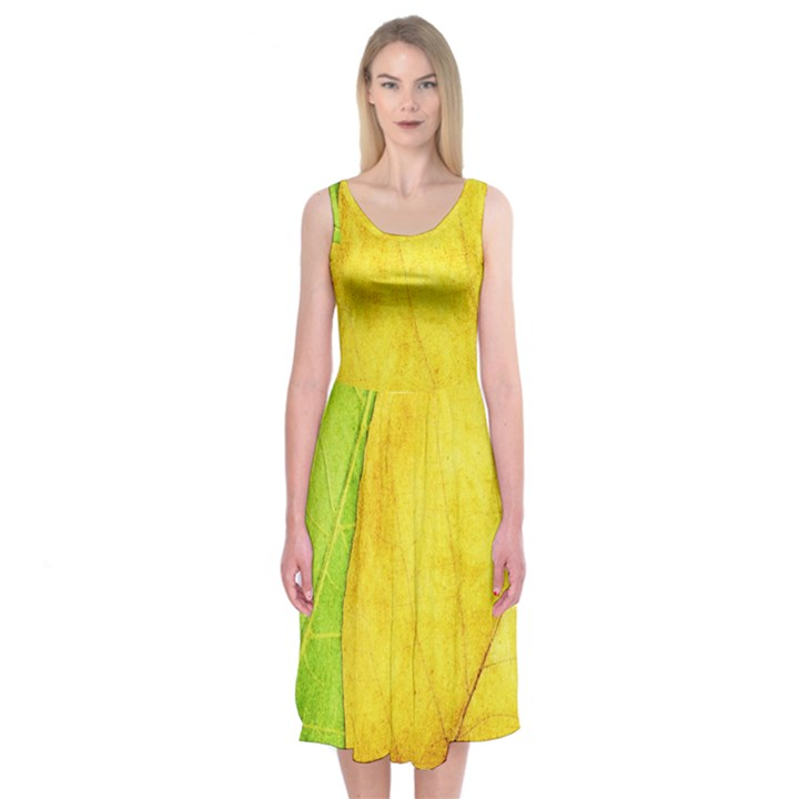Green Yellow Leaf Texture Leaves Midi Sleeveless Dress