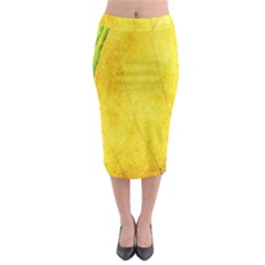 Green Yellow Leaf Texture Leaves Midi Pencil Skirt