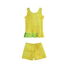 Green Yellow Leaf Texture Leaves Kid s Boyleg Swimsuit