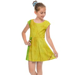 Green Yellow Leaf Texture Leaves Kids Cap Sleeve Dress