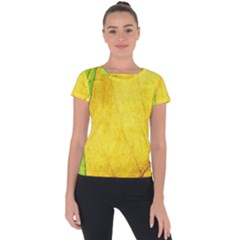 Green Yellow Leaf Texture Leaves Short Sleeve Sports Top