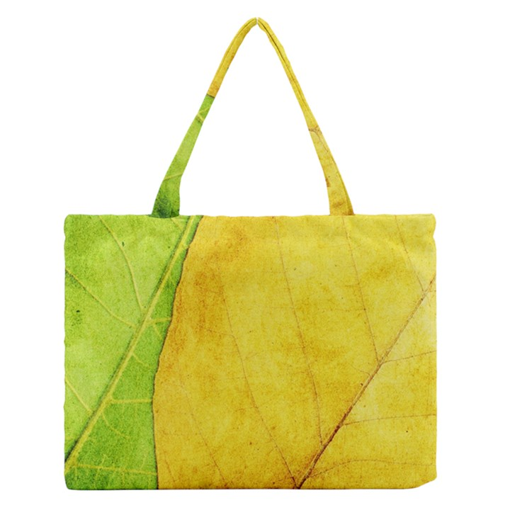Green Yellow Leaf Texture Leaves Zipper Medium Tote Bag