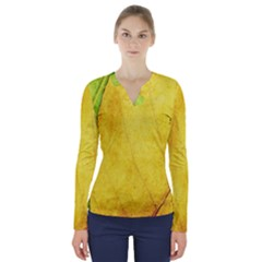 Green Yellow Leaf Texture Leaves V Neck Long Sleeve Top