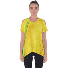 Green Yellow Leaf Texture Leaves Cut Out Side Drop Tee
