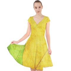 Green Yellow Leaf Texture Leaves Cap Sleeve Front Wrap Midi Dress