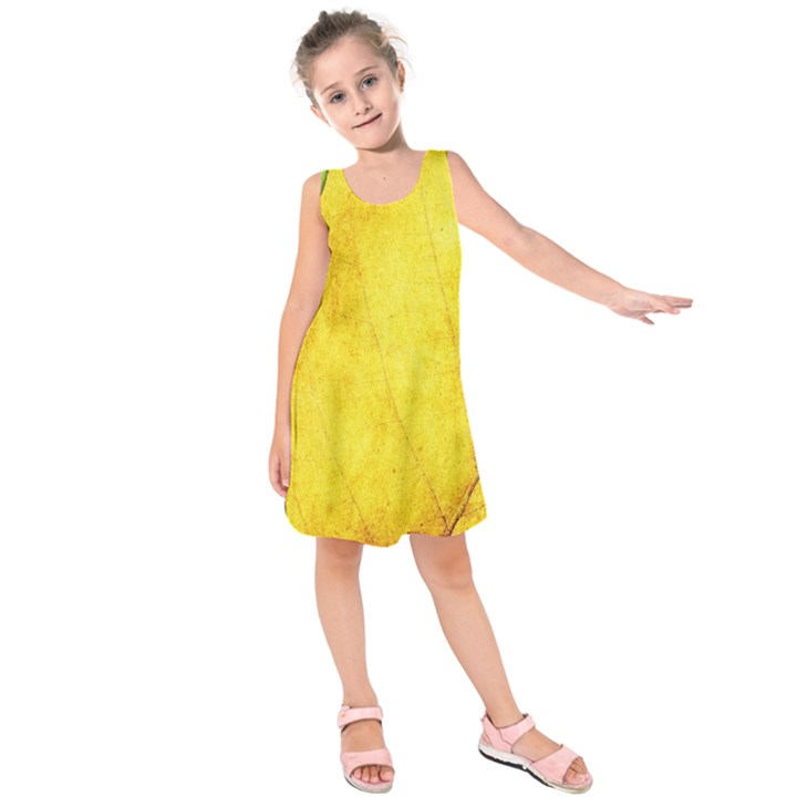 Green Yellow Leaf Texture Leaves Kids  Sleeveless Dress
