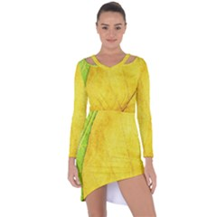 Green Yellow Leaf Texture Leaves Asymmetric Cut Out Shift Dress