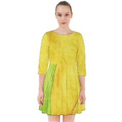 Green Yellow Leaf Texture Leaves Smock Dress by Alisyart
