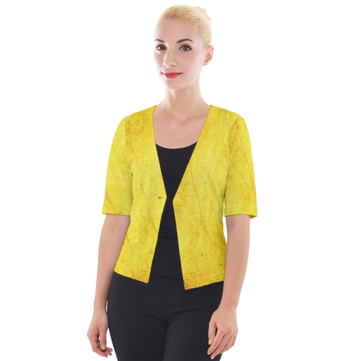Green Yellow Leaf Texture Leaves Cropped Button Cardigan