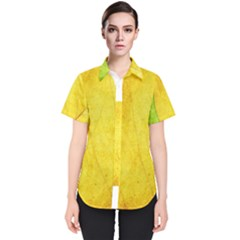 Green Yellow Leaf Texture Leaves Women s Short Sleeve Shirt