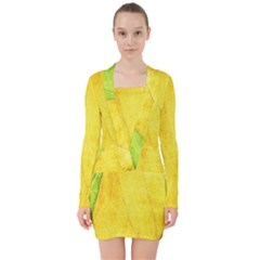 Green Yellow Leaf Texture Leaves V Neck Bodycon Long Sleeve Dress