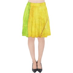 Green Yellow Leaf Texture Leaves Velvet High Waist Skirt