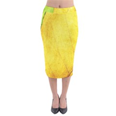 Green Yellow Leaf Texture Leaves Velvet Midi Pencil Skirt